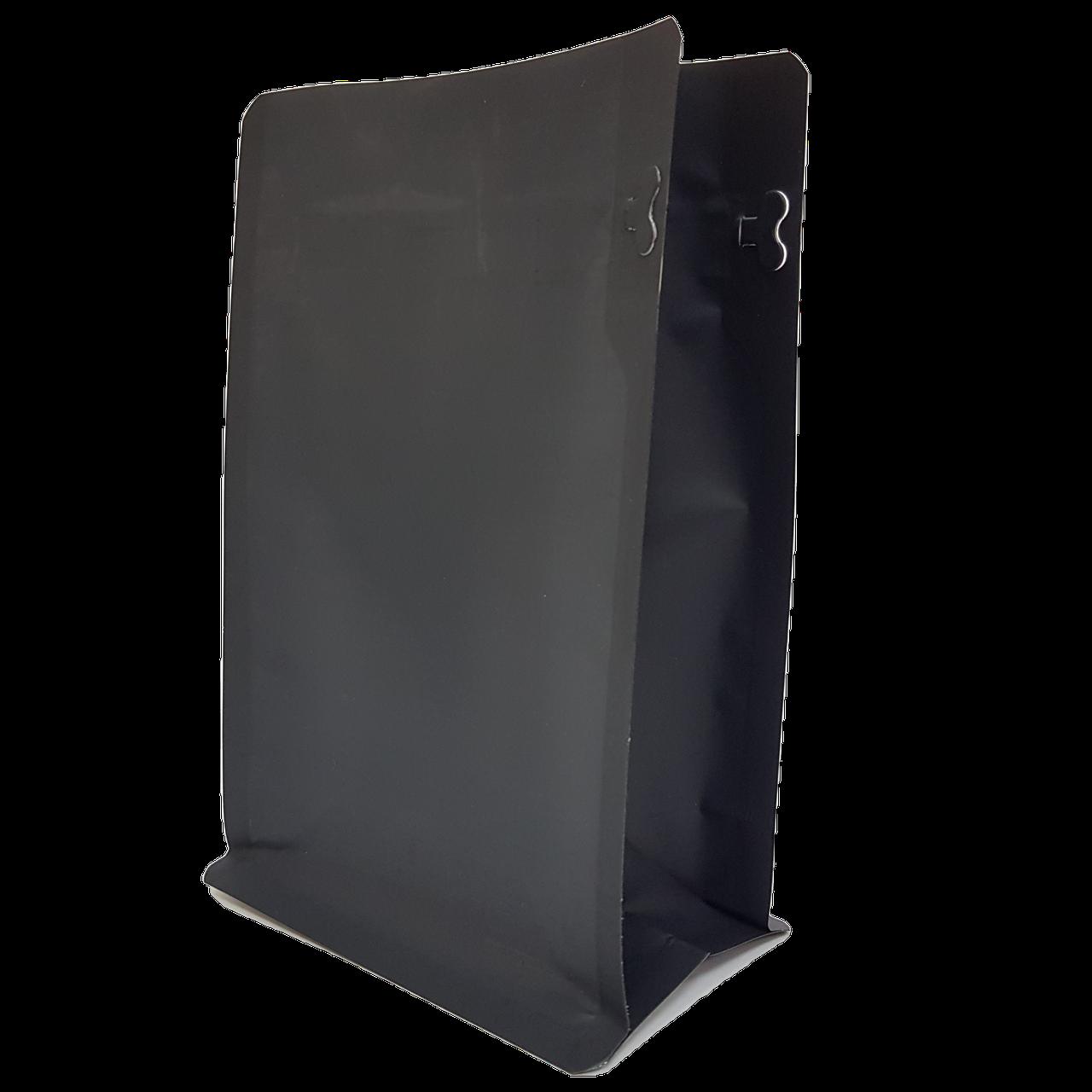 Пакет з плоским дном 130*255 дно (45+45) чорний, бічній zip-замок