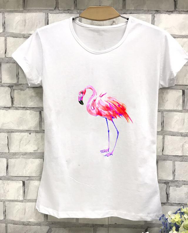 Женская футболка с принтом Фламинго