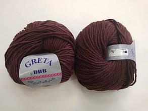 Пряжа для вязания ВВВ Greta Гретта бордовый 27