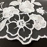 Ажурне мереживо, вишивка на сітці, білого кольору, ширина 20 см, фото 5