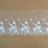 Ажурне мереживо, вишивка на сітці, білого кольору, ширина 20 см, фото 6