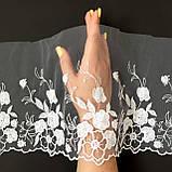 Ажурне мереживо, вишивка на сітці, білого кольору, ширина 20 см, фото 3