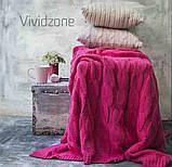 Плед вязаный РОМАНТИК 160х210 малина Vividzone, фото 4
