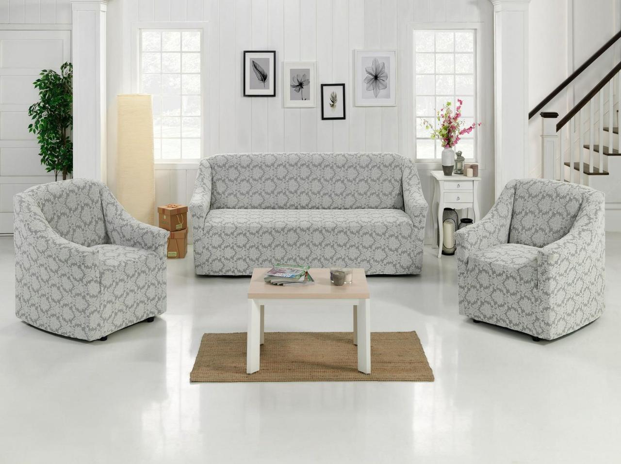 Жаккардовый комплект чехлов на диван и кресла Без оборки