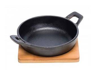 Сковородка для запекания из чугуна с доской для подачи - 17 х 13 х h 5.5 см (Cosy&Trendy)
