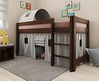 Детская кровать-чердак Адель темный орех сосна. Арбор., фото 1
