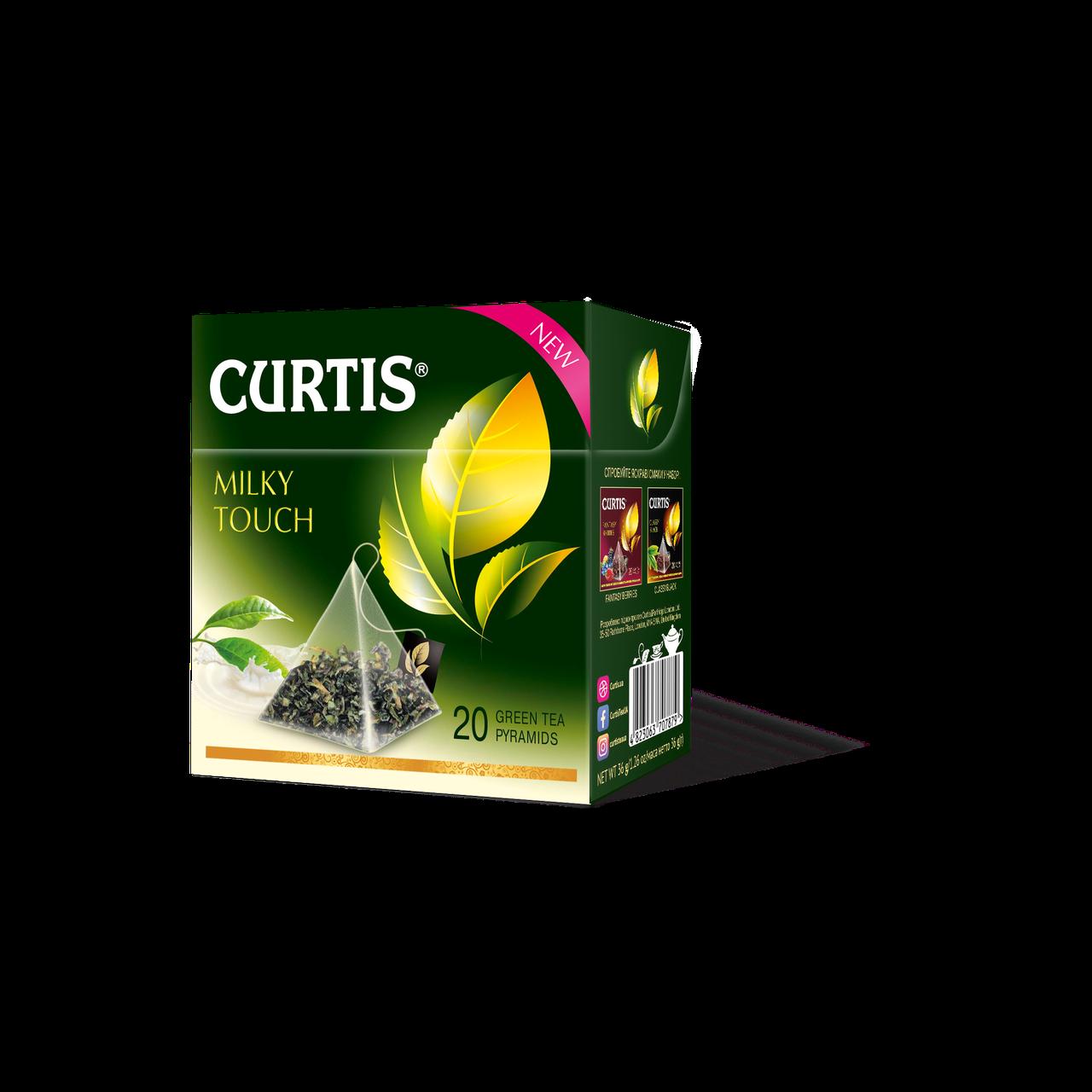 Чай зеленый ароматизированный в пирамидках Curtis Milky Touch (Кертис), 20 пирамидок