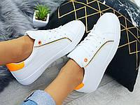 Женские кроссовки кеды белого цвета с желтыми вставками, фото 1