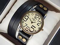 Мужские (Женские) кварцевые наручные часы M&C на кожанном длинном ремешке