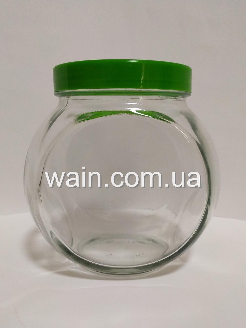 """Банка стеклянная 1730 мл """"Sweet New"""" Everglass для хранения сыпучих и круп с зеленой крышкой"""