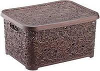 Корзина для хранения мелких вещей Ажур Elif Plastik 377 коричневая