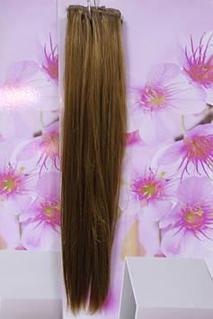 Волосся на заколках штучні термоволокно прямі темно золотисті