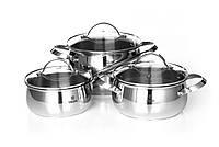 Набор посуды Vinzer Culinaire 89030 (6 пр.) нержавеющая сталь | кастрюля, кастрюли, сотейник, посуда Винзер, фото 1