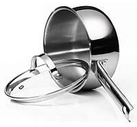 Сотейник с крышкой Vinzer Culinaire series 89165 (1.6 л) нерж. сталь | ковш стальной | ковшик, молочник Винзер, фото 1