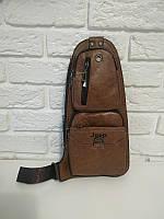 """Мужская сумка на грудь, мини-рюкзак """"Jeep 2 Brown"""", фото 1"""