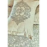 Комплект постельного белья сатин Karaca Home евро размер Adare bej, фото 3