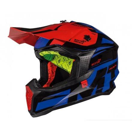 Шлем кроссовый MT Falcon Weston Black/Red//Blue
