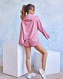 Розовый трикотажный спортивный костюм с капюшоном, фото 2