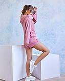 Розовый трикотажный спортивный костюм с капюшоном, фото 3