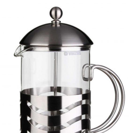 Френч-пресс для заваривания Vinzer 69369 (350 мл) нержавеющая сталь + стекло | заварник | заварочный чайник