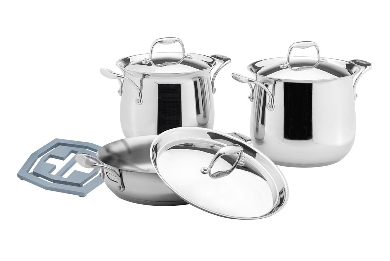 Набор посуды Vinzer Tulip 89027 (7 пр.) нержавеющая сталь   кастрюля, кастрюли, сотейник, посуда Винзер