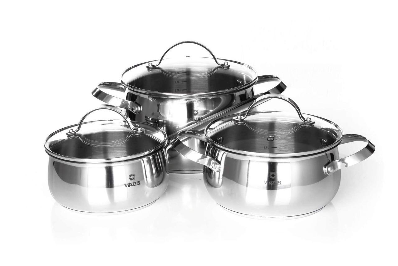 Набор посуды Vinzer Culinaire 89030 (6 пр.) нержавеющая сталь | кастрюля, кастрюли, сотейник, посуда Винзер