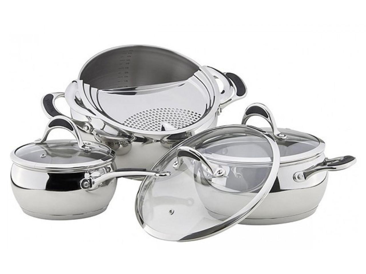 Набор посуды Vinzer Astro 89038 (7 пр.) нержавеющая сталь | кастрюля, кастрюли, сотейник, посуда Винзер