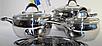 Набор посуды Vinzer Astro 89038 (7 пр.) нержавеющая сталь | кастрюля, кастрюли, сотейник, посуда Винзер, фото 5