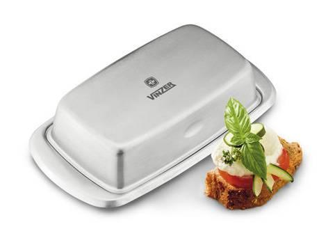 Масленка металлическая Vinzer 89242 | тарелка с крышкой для масла Винзер, емкость под масло нержавеющая