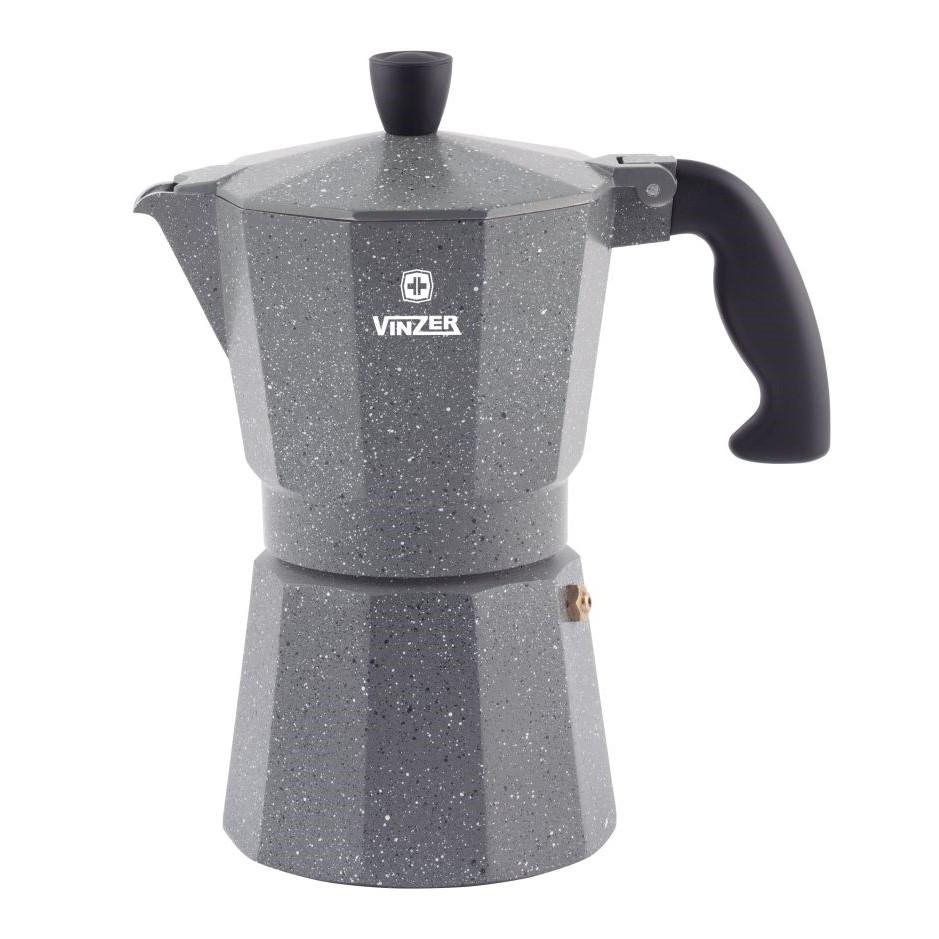 Гейзерная кофеварка Vinzer Moka Granito 89398 из кованого алюминия на 6 чашек | мока для кофе Винзер