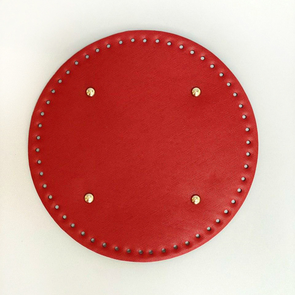 АКЦИЯ Донышко круглое для сумки экокожа Красный Ø 22 см с ножками фурнитура серебро