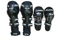 Комплект мотозащиты (наколенники) AXO M-4575 (пластик, PL, неопрен,черный) + подарок налокотники