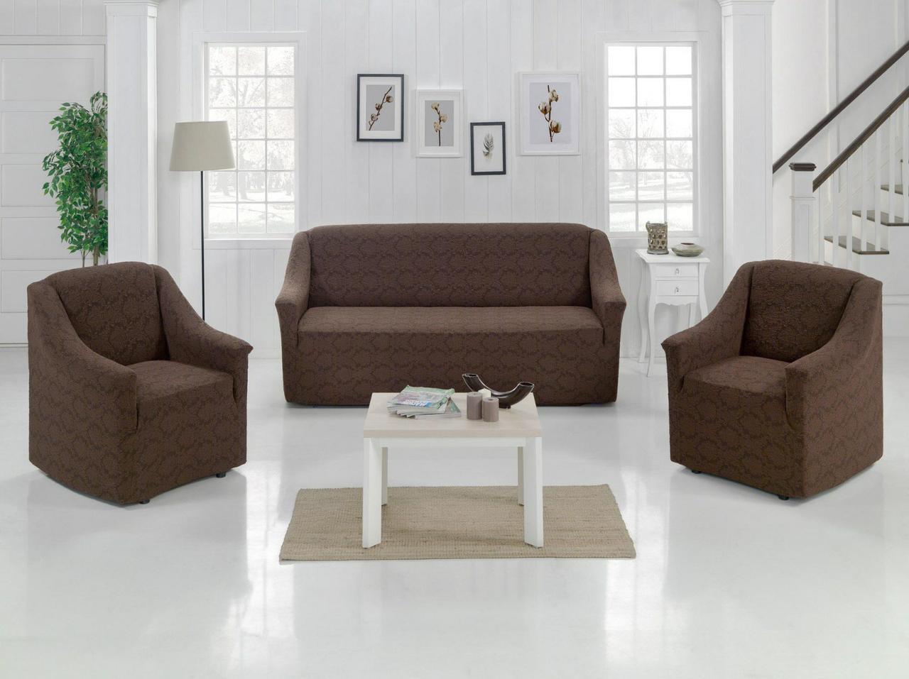 Чехлол на диван и два кресла Без оборки Evibu