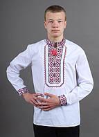 Стильная рубашка вышиванка  на подростка на рост 158-164 с нарядной вышивкой