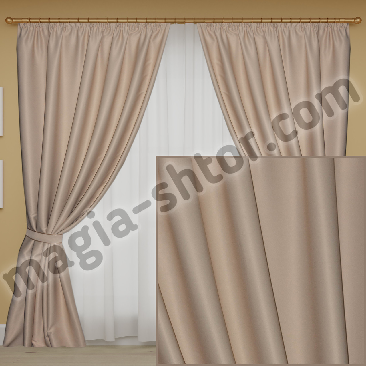 Комплект плотных штор в спальню, зал с нужной высотой