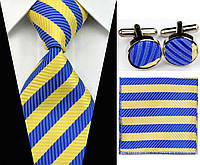 Галстук в сине-желтую полоску, запонки и платок, фото 1