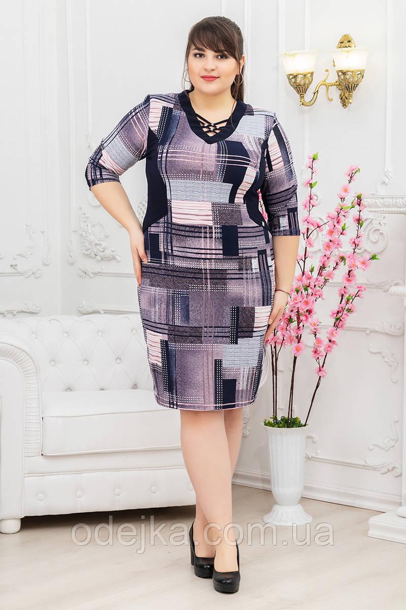 Платье Решетка 3/4 квадрат сиреневый
