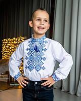 Стильная белая рубашка  вышиванка с длинным рукавом на мальчика рост 110-152