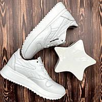 Кожанные белые женские кроссовки Reebok 37