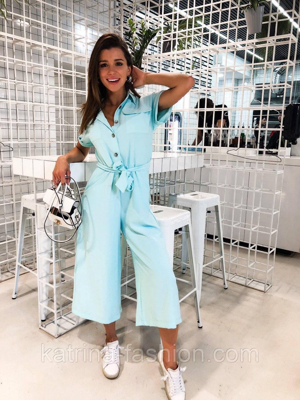 Жіночий літній комбінезон штани кюлоти креп льон (в кольорах)