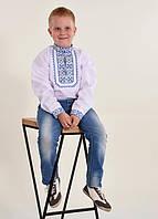 Рубашка на мальчика с длинным рукавом и стильной вышивкой