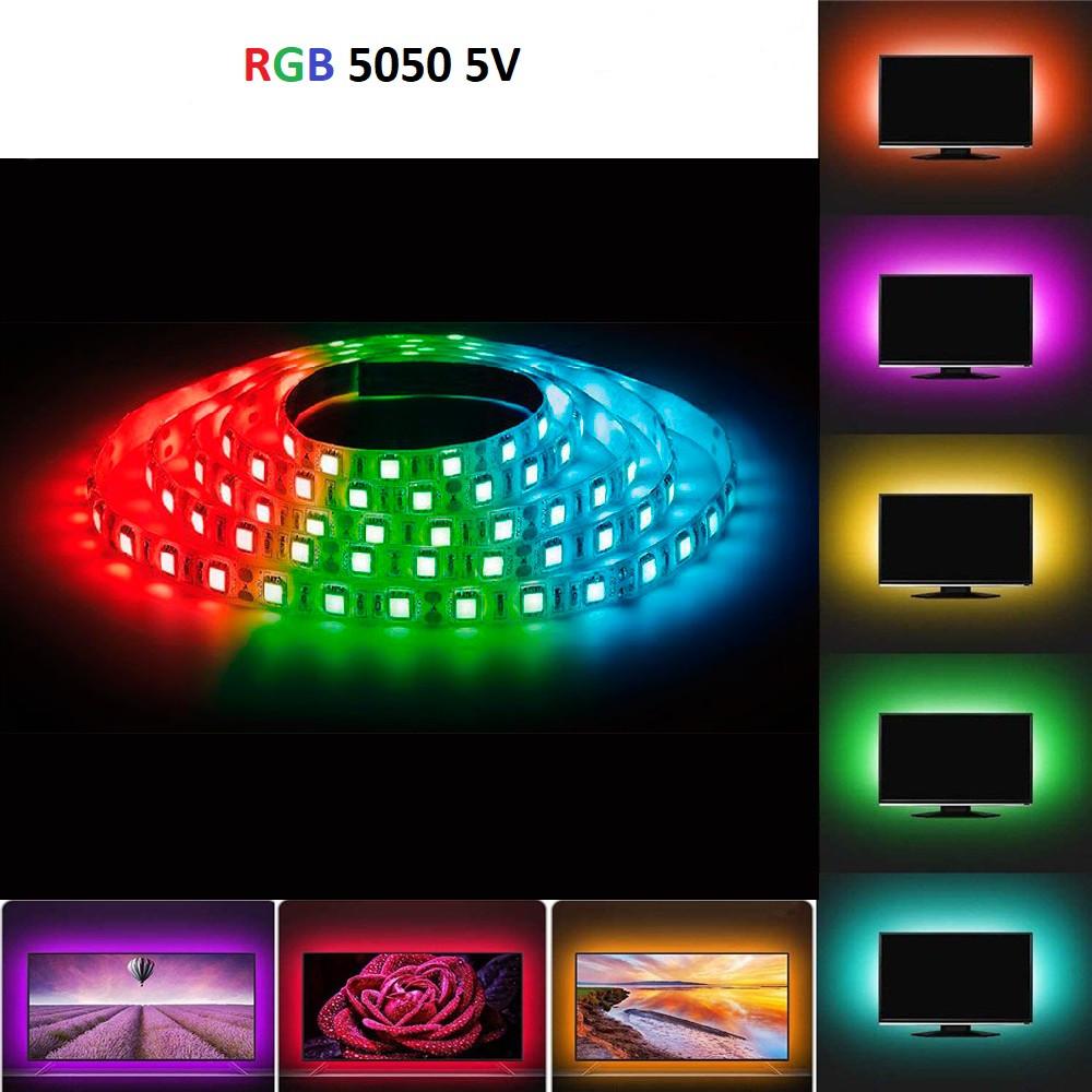 Світлодіодна стрічка rgb 5 вольт smd 5050 ip65 вологозахист 60led/m 5v багатобарвна стандарт