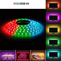 Світлодіодна стрічка rgb 5 вольт smd 5050 ip65 вологозахист 60led/m 5v багатобарвна стандарт, фото 1