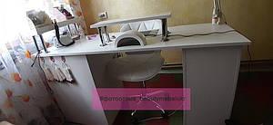 Широкий маникюрный стол с ящиком Карго, УФ-лампой, розетками, полкой и подставкой для рук 1