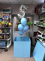 """Композиция с шаров """"5 голубое облако+коробка """" набор 5 шт."""