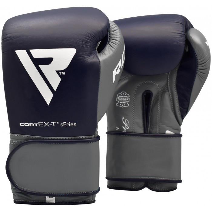 Боксерские перчатки кожаные RDX Leather Pro C4 Blue 14 oz. унций синий