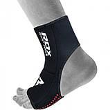 Защита голеностопа правая (1шт.) RDX Neopren Anclet Right L/XL неопреновый черный, фото 4