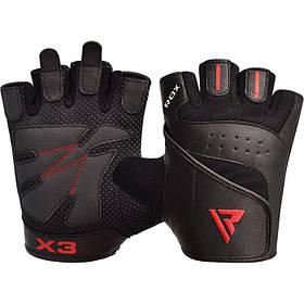 Рукавички для фітнесу чоловічі шкіряні RDX S2 Leather Black чорний XXL