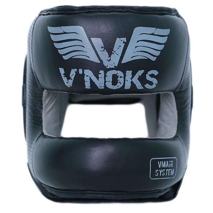 Боксерский шлем кожаный V`Noks с бампером Boxing Machine XL черный