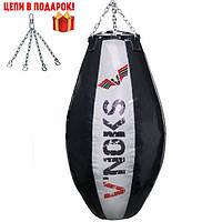 🔥 Боксерская груша апперкотная V`Noks 110 см 50-60 кг черно-белая + цепи в подарок!🎁